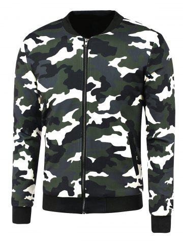 Discount Zip-Up Camouflage Printed Jacket CAMOUFLAGE 5XL
