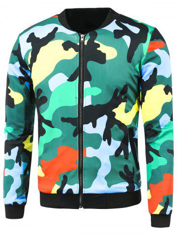 Sale Zip-Up Camo Printed Jacket COLORMIX 3XL