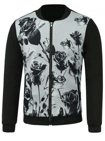 Zip-Up Jacket with Rose Print