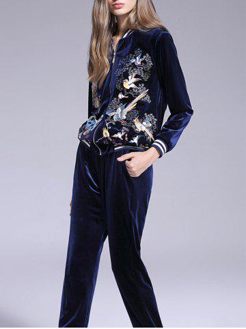 Hot Animal Embroidered Velvet Gym Outfits - L DEEP BLUE Mobile