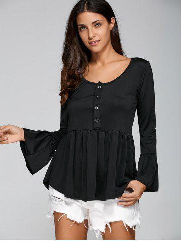Trendy Flare Sleeve Peplum T-Shirt with Half Button BLACK XL
