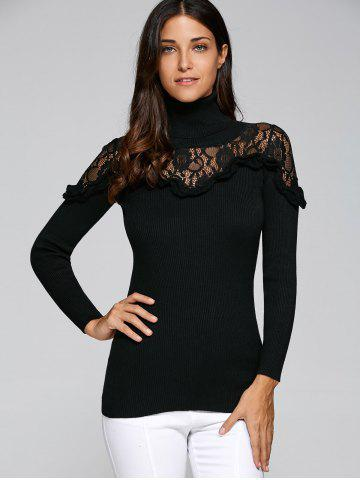Cheap Lace Trim Insert Ruffles Turtleneck Knitwear BLACK L
