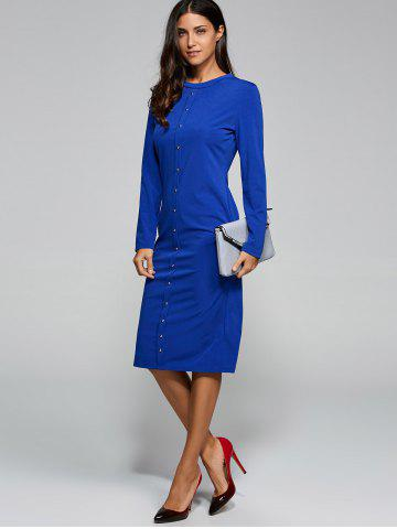 Affordable Long Sleeve Jersey Jumper Midi Work Dress BLUE XL