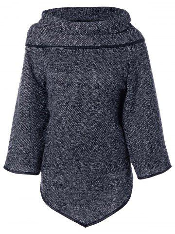 Online High Neck Asymmetrical Knitted Sweater GRAY ONE SIZE