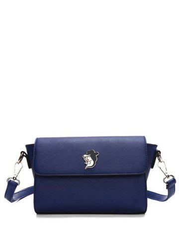 Store Metal Magnetic Closure Textured Leather Crossbody Bag DEEP BLUE