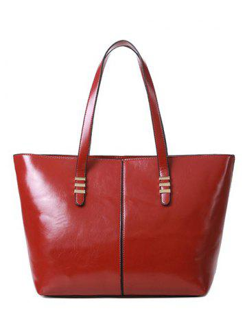 Shops PU Leather Metal Stitching Shoulder Bag WINE RED