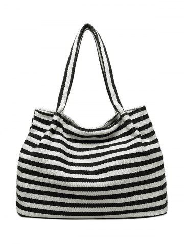 Trendy Colour Spliced Striped Pattern Canvas Shoulder Bag