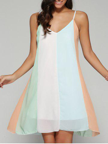 Store Color Block Spaghetti Strap Chiffon Dress