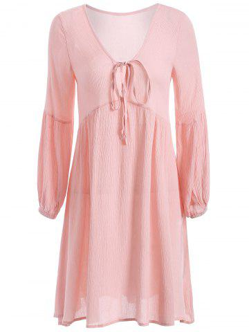 Latest String Puff Sleeve Plunging Neck Short Dress with Sleeves PINK XL