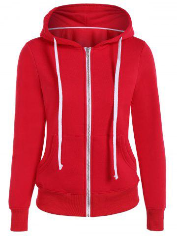 Zip Up Drawstring Pocket Conception Hoodie Rouge 3XL