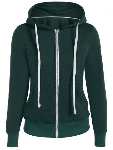 Zip Up Drawstring Pocket Conception Hoodie Vert L