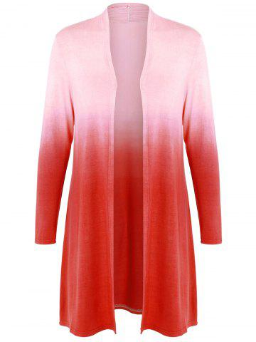 Affordable Collarless Ombre Open Front Coat
