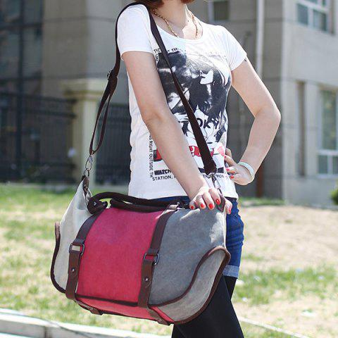Trendy Metal Canvas Colour Block Tote Bag - RED  Mobile