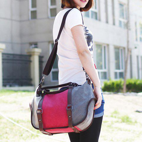 Fancy Metal Canvas Colour Block Tote Bag - RED  Mobile