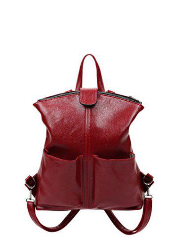 Online PU Leather Double Pocket Magnetic Closure Backpack WINE RED