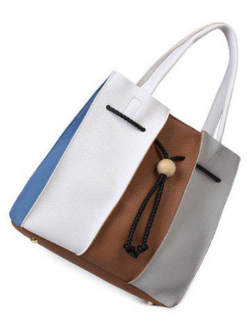Chic Colour Block String Textured Leather Tote Bag - WHITE AND BROWN  Mobile