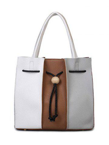 Colour Block String Textured Leather Tote Bag - WHITE/BROWN