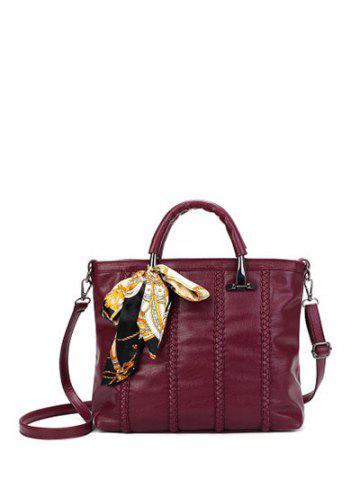 Store PU Leather Weaving Metal Tote Bag WINE RED
