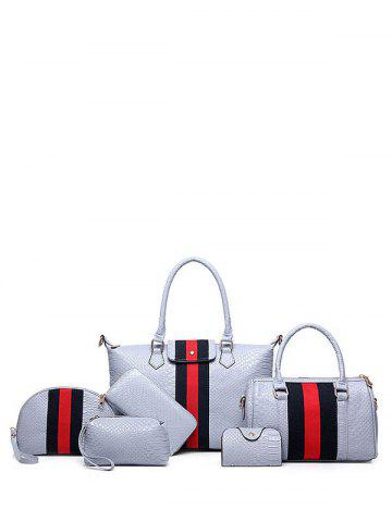 Best Embossed Striped Pattern Colour Block Tote Bag