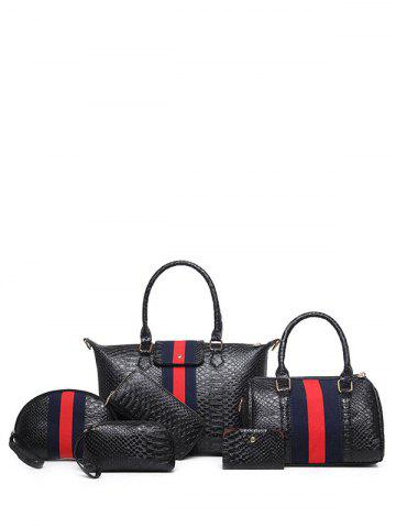 Sale Embossed Striped Pattern Colour Block Tote Bag