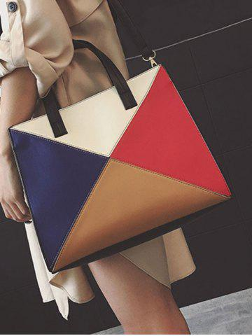 Buy Color Splicing Patchwork PU Leather Tote Bag - BLACK  Mobile