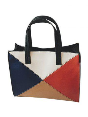 Hot Color Splicing Patchwork PU Leather Tote Bag - BLACK  Mobile