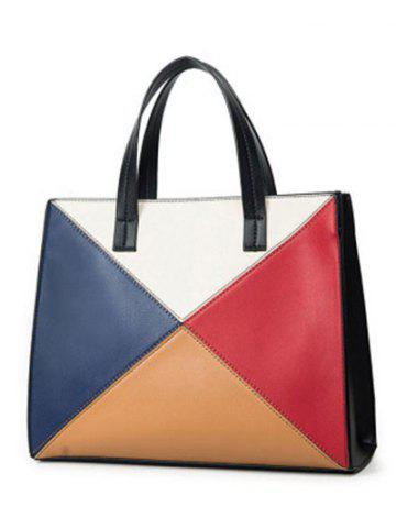 Trendy Color Splicing Patchwork PU Leather Tote Bag - BLACK  Mobile