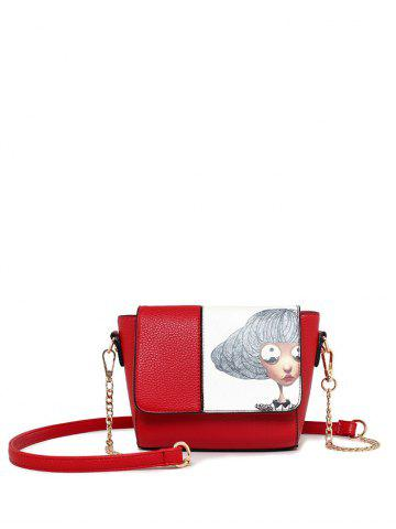 Buy Colour Spliced Characters Printed Chain Crossbody Bag RED