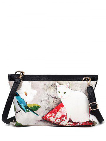 Rivets Cat Printed Colour Block Crossbody Bag - Off-white