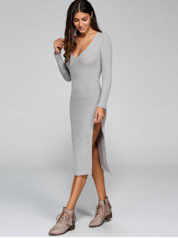 Long Sleeve Slit Knit Midi Dress with Sleeves - Gray - S