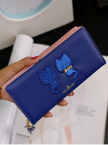 New Sequins Animal Embroidered Zip Around Wallet - BLUE  Mobile
