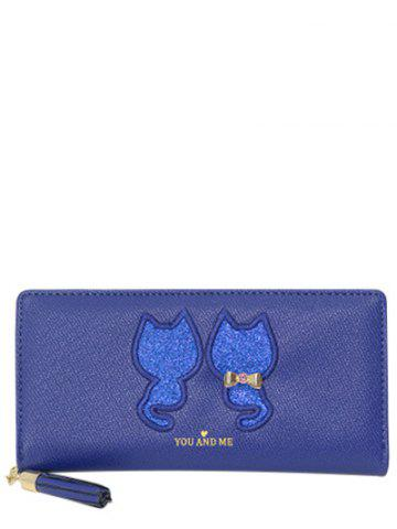 Outfits Sequins Animal Embroidered Zip Around Wallet - BLUE  Mobile