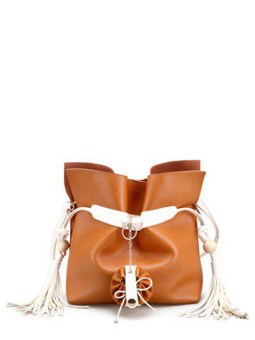 New Magnetic Closure Tassels Colour Spliced Crossbody Bag