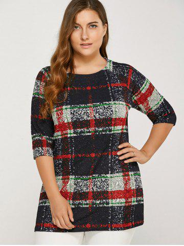 Best Plus Size Plaid Tee RED ONE SIZE