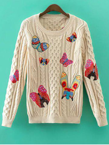 Latest Cable Knit Butterfly Embroidered Jumper