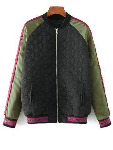 Fancy Embroidered Quilted Bomber Jacket BLACK M