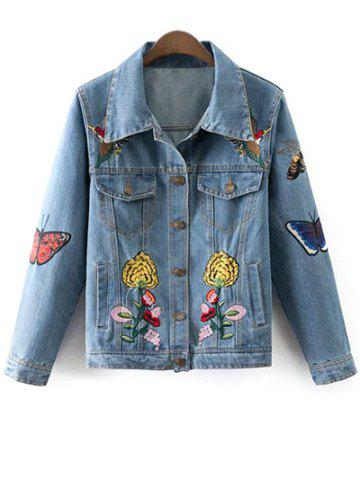 Outfits Floral Butterfly Embroidered Denim Jacket