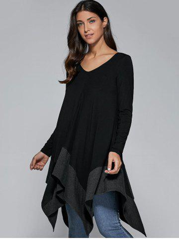 Fashion Loose Fitting Handkerchief Blouse BLACK AND GREY M