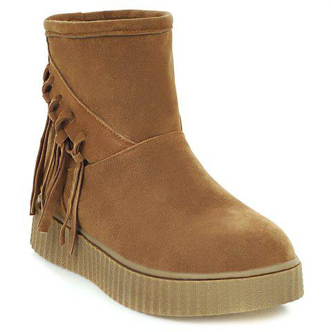 Fashion Suede Fringe Platform Snow Boots BROWN 37