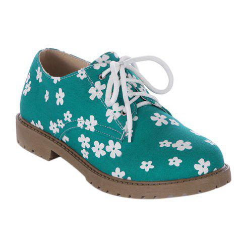 Affordable Canvas Floral Print Tie Up Flat Shoes
