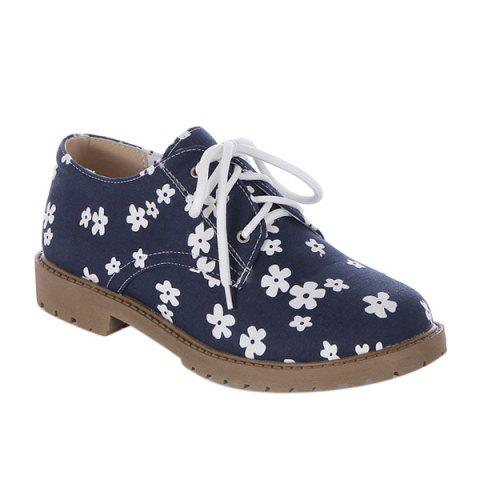 New Canvas Floral Print Tie Up Flat Shoes