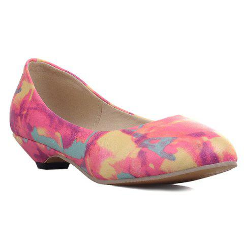 Online PU Leather Colour Spliced Flat Shoes ROSE MADDER 40