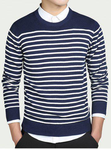 Shop Striped Round Collar Long Sleeves Sweater BLUE 3XL