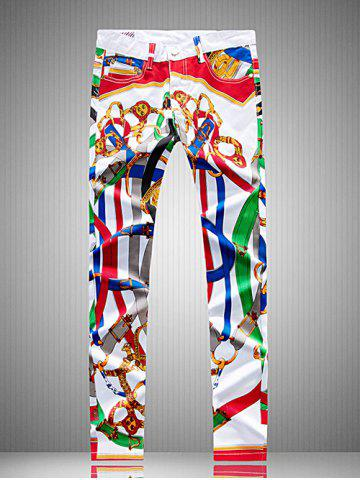 Affordable Plus Size Zipper Fly Colorful Belt Print Straight Leg Pants