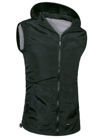 Buy Brief Style Zipper Flying Hooded Casual Vest For Men BLACK 4XL