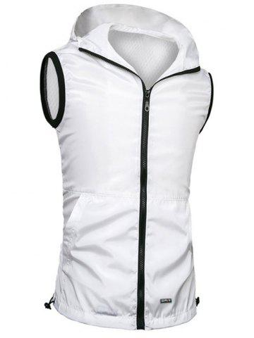 Buy Brief Style Zipper Flying Hooded Casual Vest For Men - 3XL WHITE Mobile