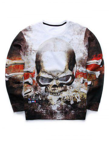 3D Angry Skull Printed Crew Neck Sweatshirt - COLORMIX XL