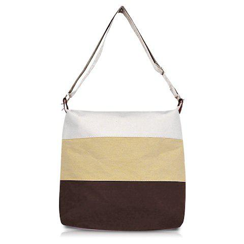 New Casual and Sweet Stripe Sacking One-Shoulder Bag For Female KHAKI