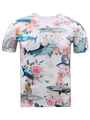 Fashion Round Neck 3D Shark and Flowers Print Short Sleeve T-Shirt