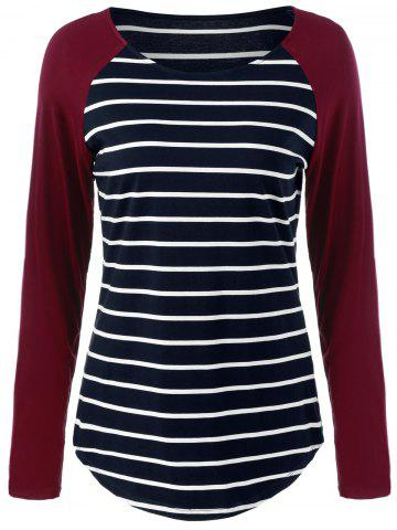 Best Raglan Sleeve Striped Comfy T-Shirt STRIPE M